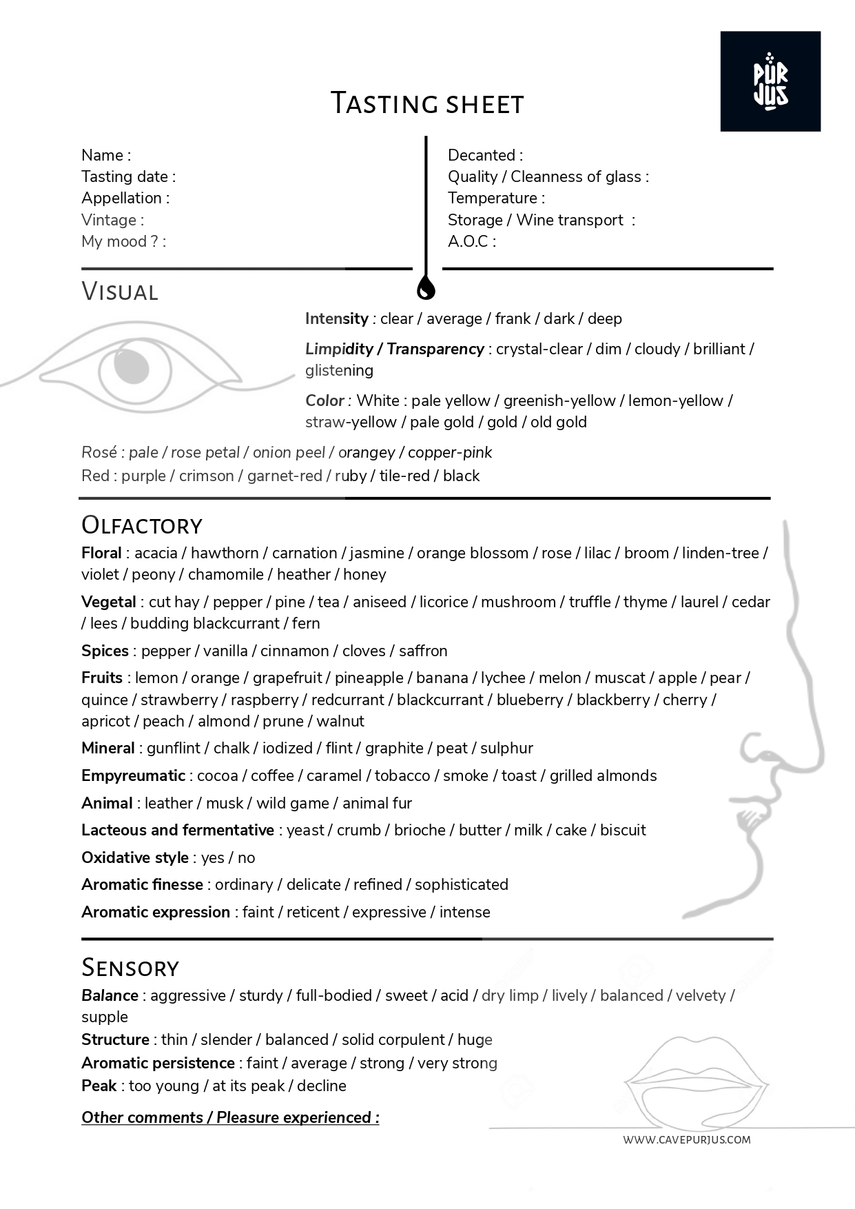 Download the tasting sheet